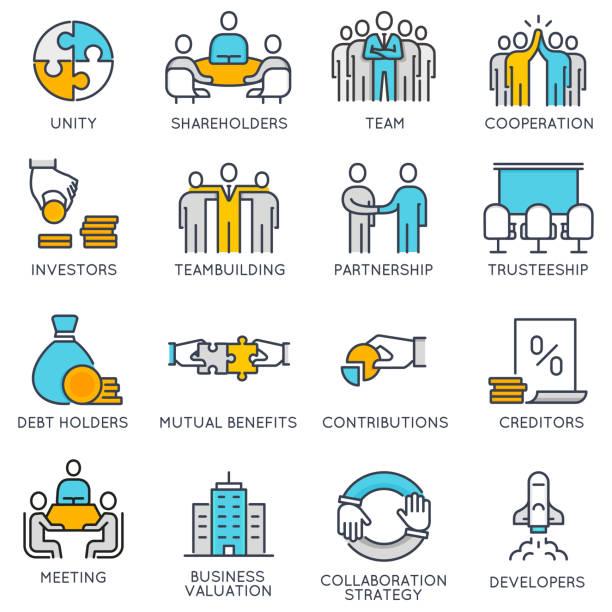 ilustraciones, imágenes clip art, dibujos animados e iconos de stock de iconos lineales vectorial relacionadas con el trabajo en equipo y gestión de recursos humanos - reunión evento social