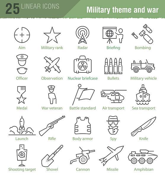 vektor-linear symbole satz für militär infografiken - catsuit stock-grafiken, -clipart, -cartoons und -symbole
