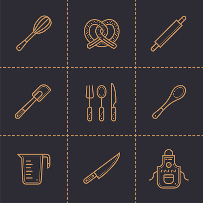 벡터 선형 아이콘 집합이 베이커리 요리 높은 품질의 현대 아이콘 인쇄 웹사이트 및 프레 젠 테이 션에 적합 0명에 대한 스톡 벡터 아트 및 기타 이미지