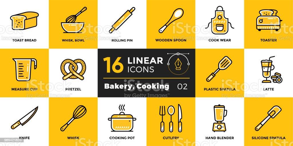 向量線性圖示集烘焙, 烹飪。適合列印、網站和演示的高品質現代圖示 - 免版稅勺圖庫向量圖形