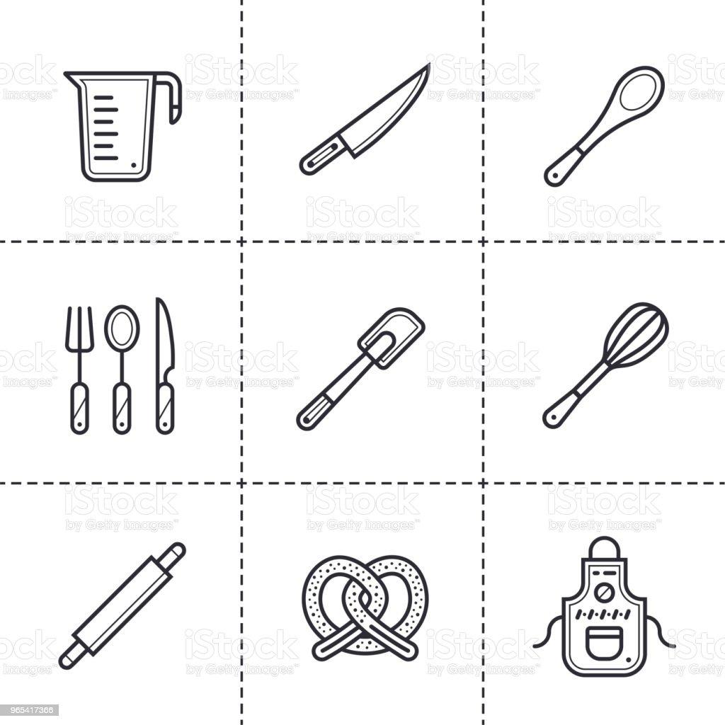 Vecteur série d'icônes linéaire de boulangerie, cuisine. Icônes de grandes lignes modernes pour des concepts web et application mobiles - clipart vectoriel de Aliment libre de droits