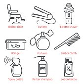 Vector linear icons set with barber equipment and accessories