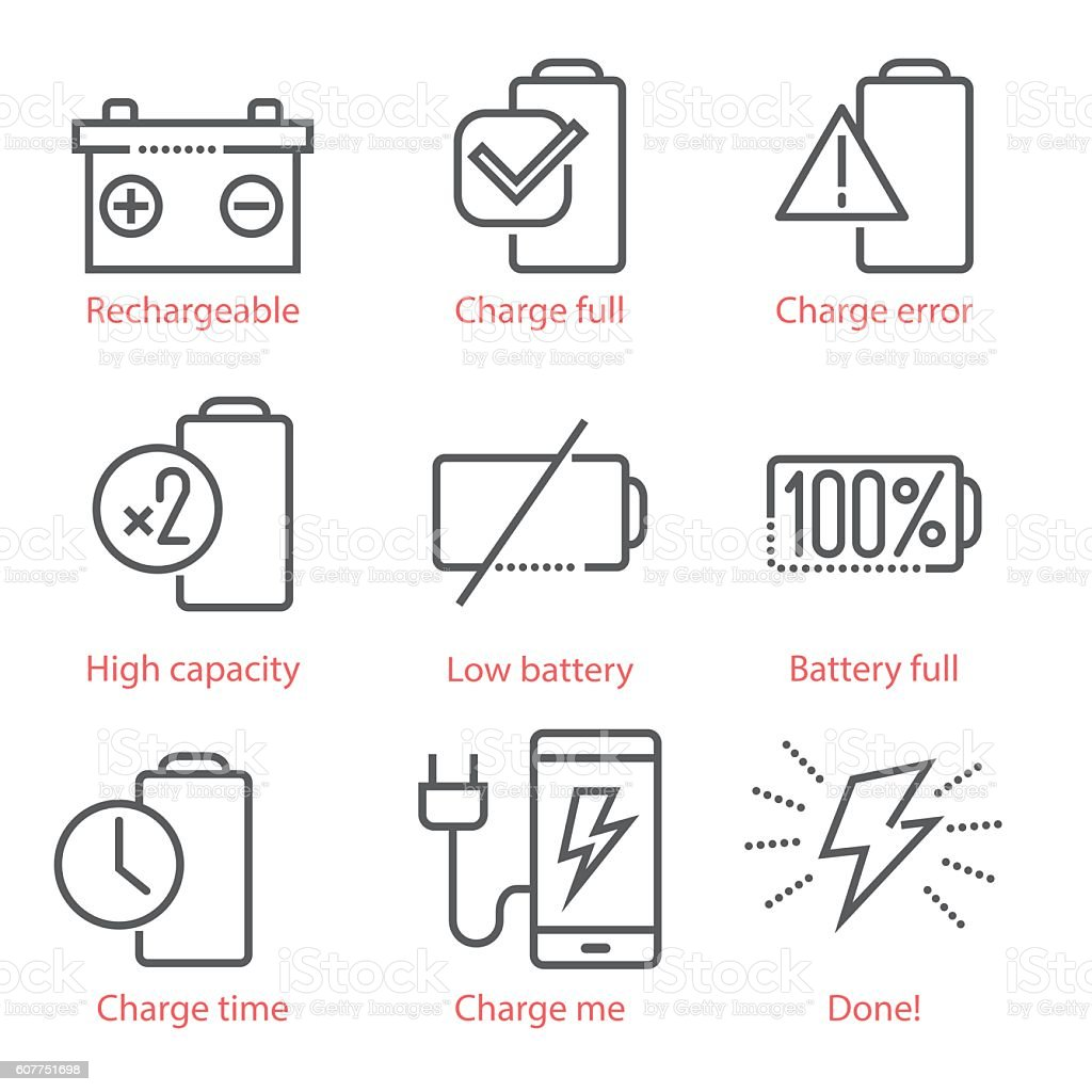 Vector linear icons set with battery and eco-energy theme vector art illustration