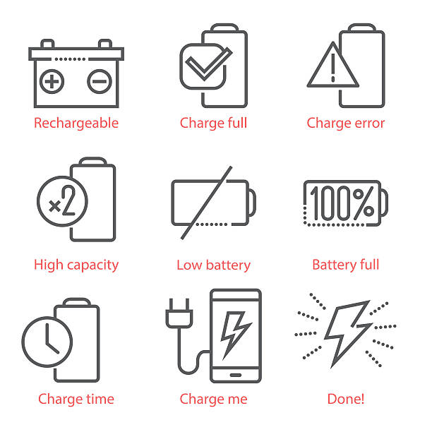 Vector linear icons set with battery and eco-energy theme Vector linear icons set with battery and eco-energy theme for infographics and UX UI kit rechargeable battery stock illustrations
