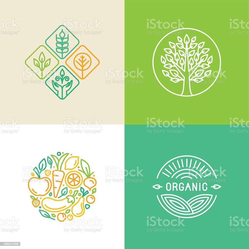 Vector linear logo design template and badges vector art illustration