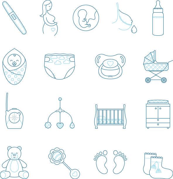linear schwangerschaft und neugeborenes vektor icon-set - wickeltisch stock-grafiken, -clipart, -cartoons und -symbole