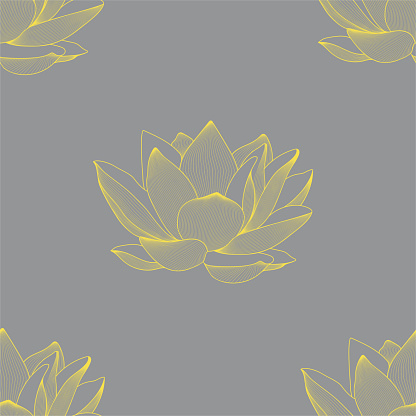 Vector linear seamless pattern of lotus flowers. Graphics.