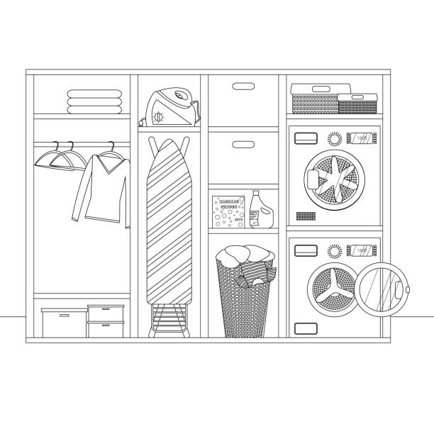 vector lineare skizze des waschraums - schrankkorb stock-grafiken, -clipart, -cartoons und -symbole