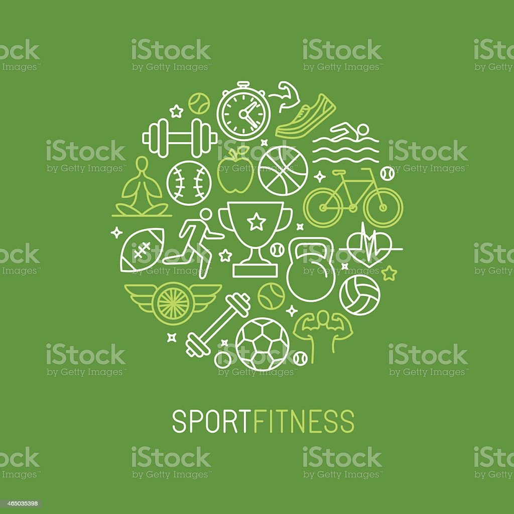 Vector linear sport and fitness logo vector art illustration