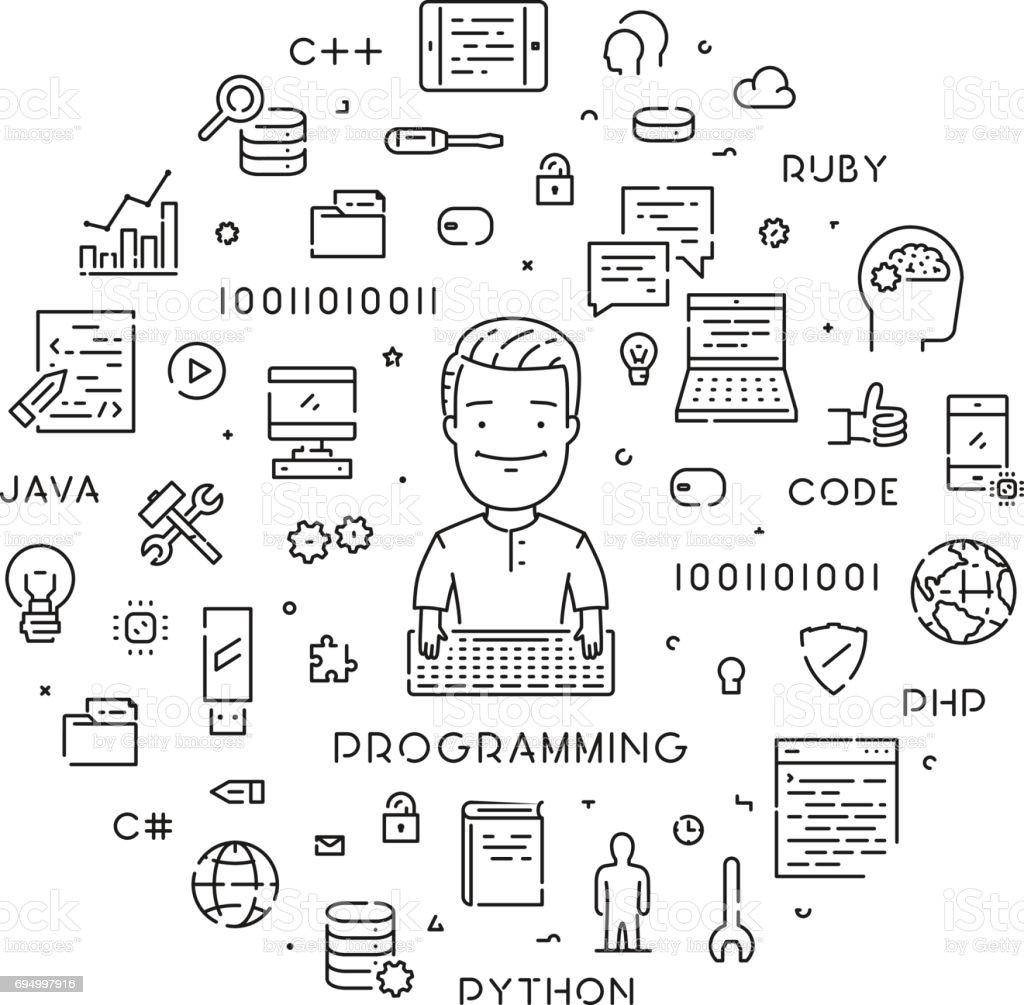 Vector linear web banner for programming. vector art illustration
