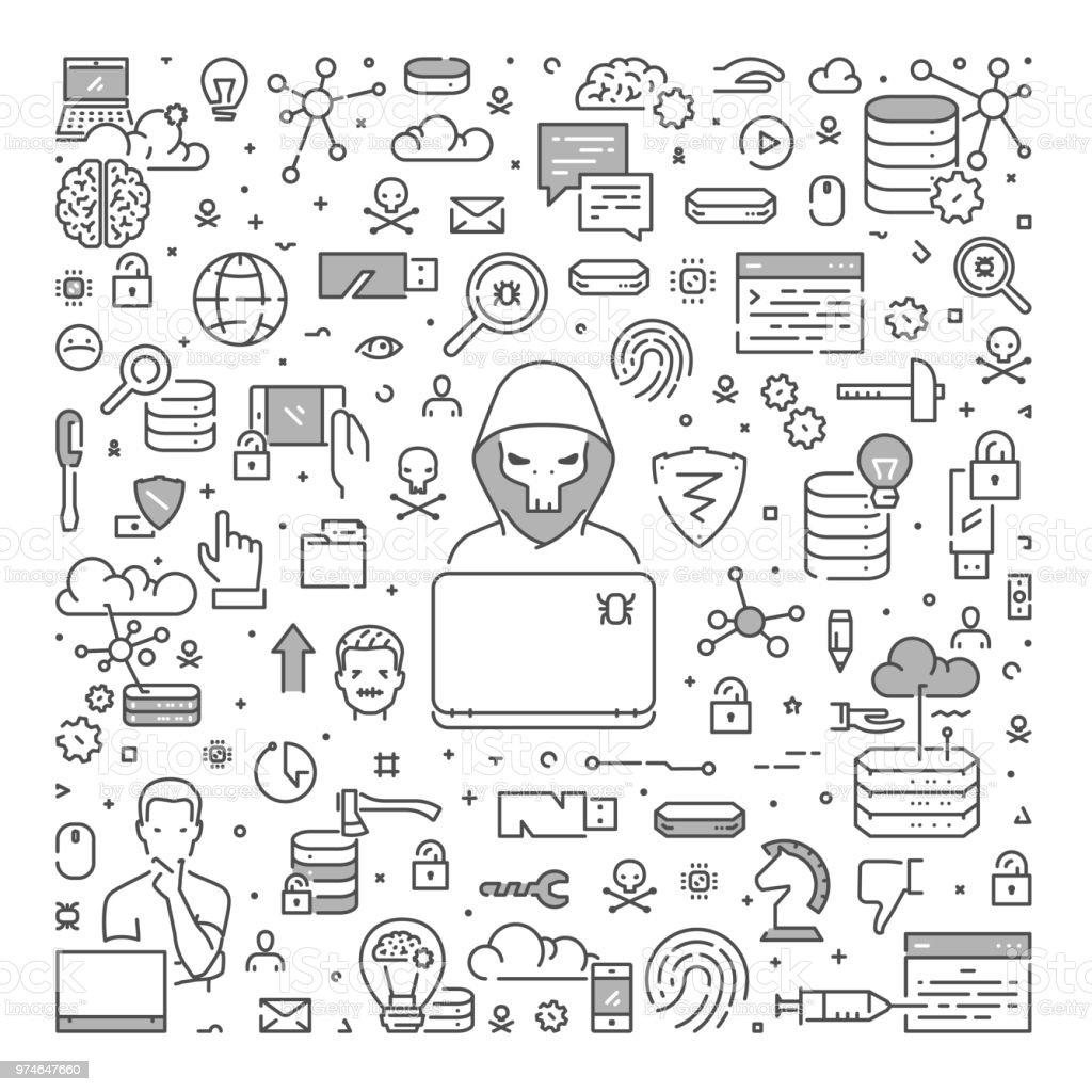 Concepto de hacking de web lineal de vectores. Camino abierto - ilustración de arte vectorial