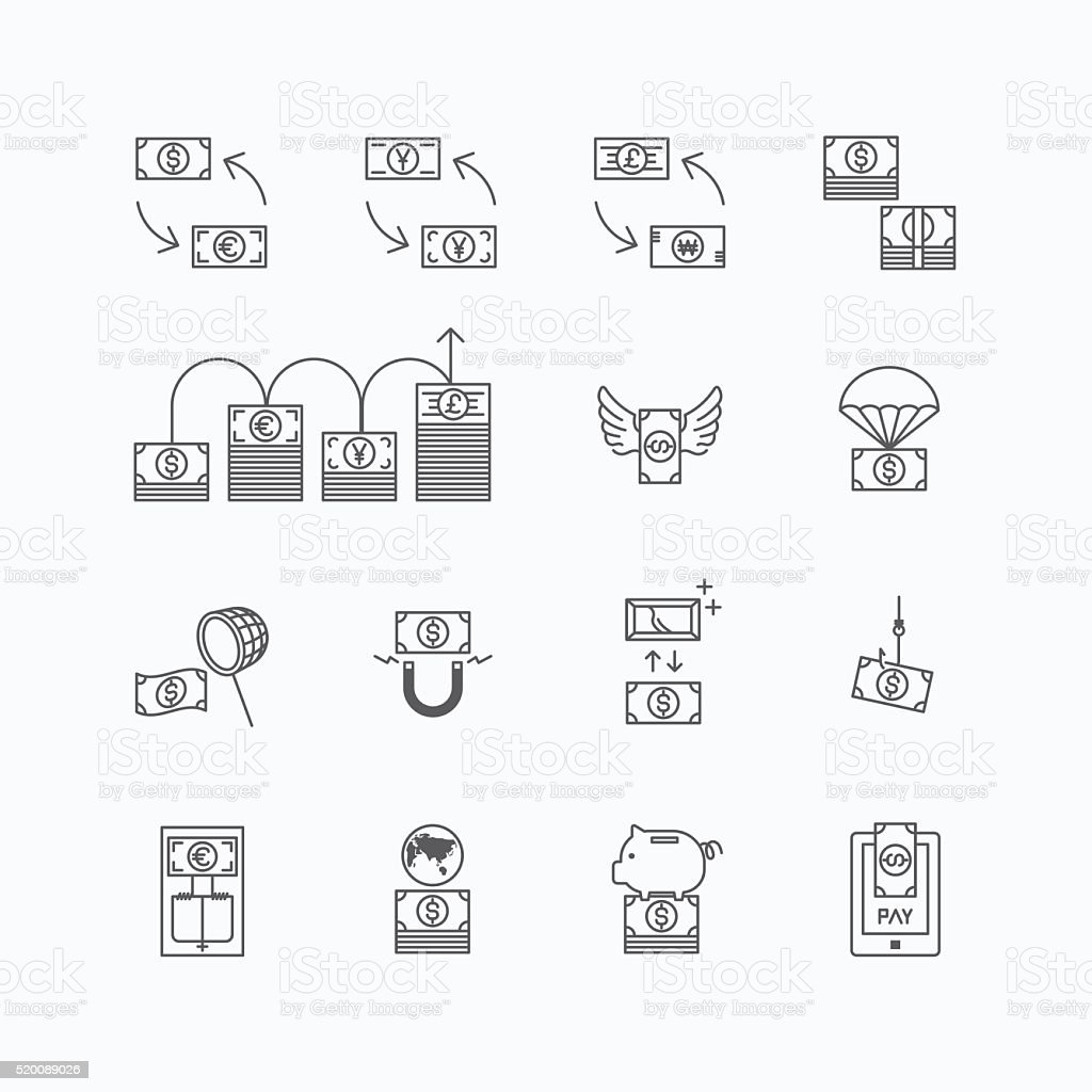 vector linear web icons set - business money currency bill vector art illustration