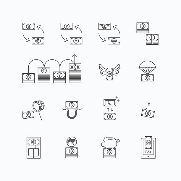 vector linear web icons set - business money currency bill vector linear web icons set - business money currency bill concept collection of flat line design elements. chinese yuan note stock illustrations