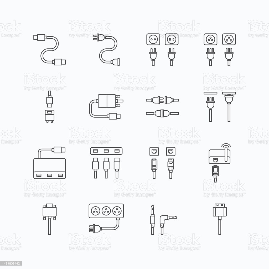 vector linear web icons set - cable wire computer plug - Royalty-free 2015 vectorkunst