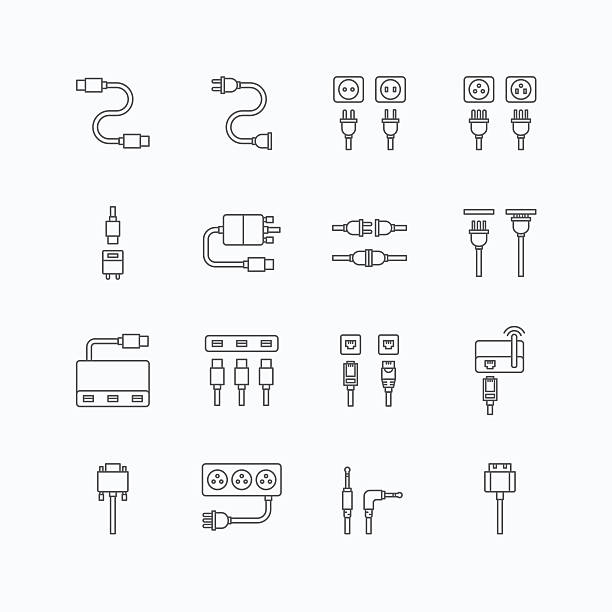stockillustraties, clipart, cartoons en iconen met vector linear web icons set - cable wire computer plug - kabel