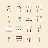 vector linear web icons set - cable wire computer plug