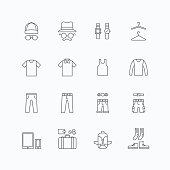 vector linear web icons set - man clothing store collection