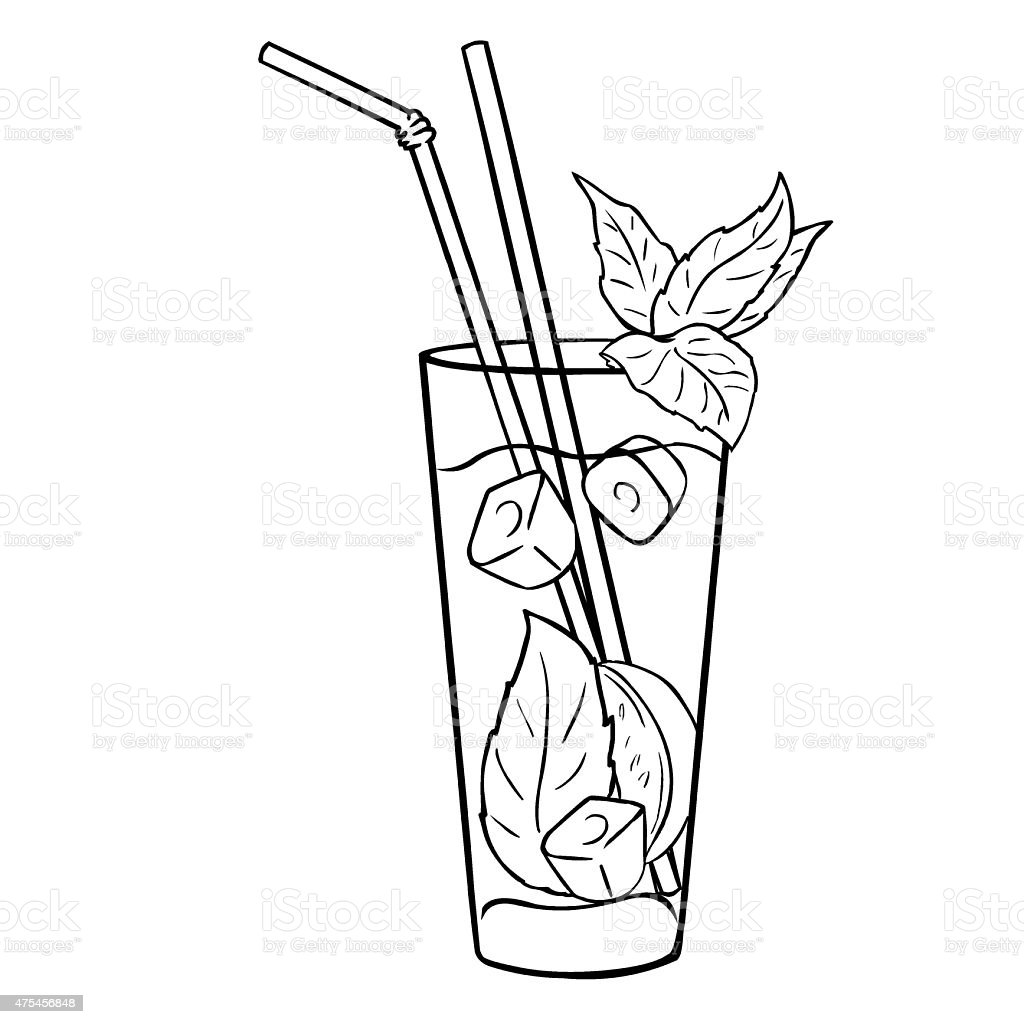 Vector Lineart Cocktail Mojito with Mint Leaves and Straws vector art illustration