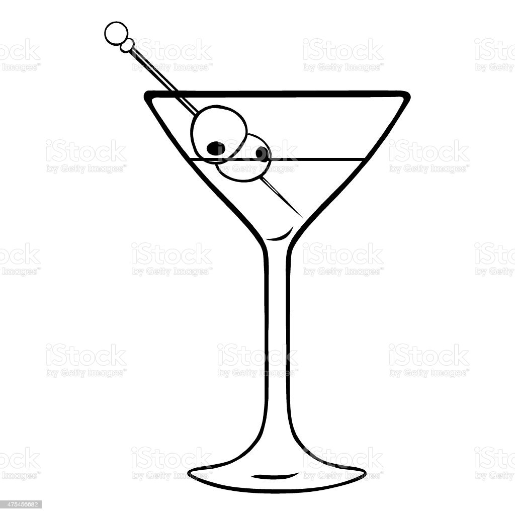 Vector lineart martini glass with olives stock vector art - Dessin cocktail ...