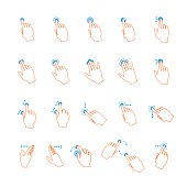 Vector lineart touchscreen hand gestures set