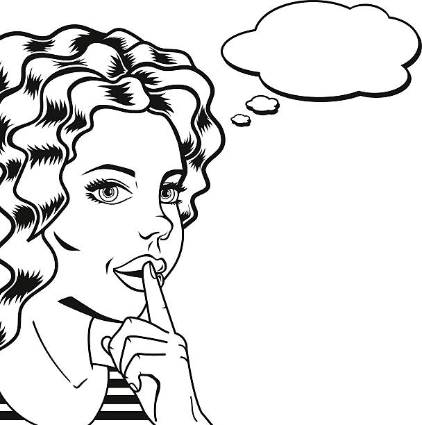 Line Drawing Quiet : Royalty free pleading woman clip art vector images