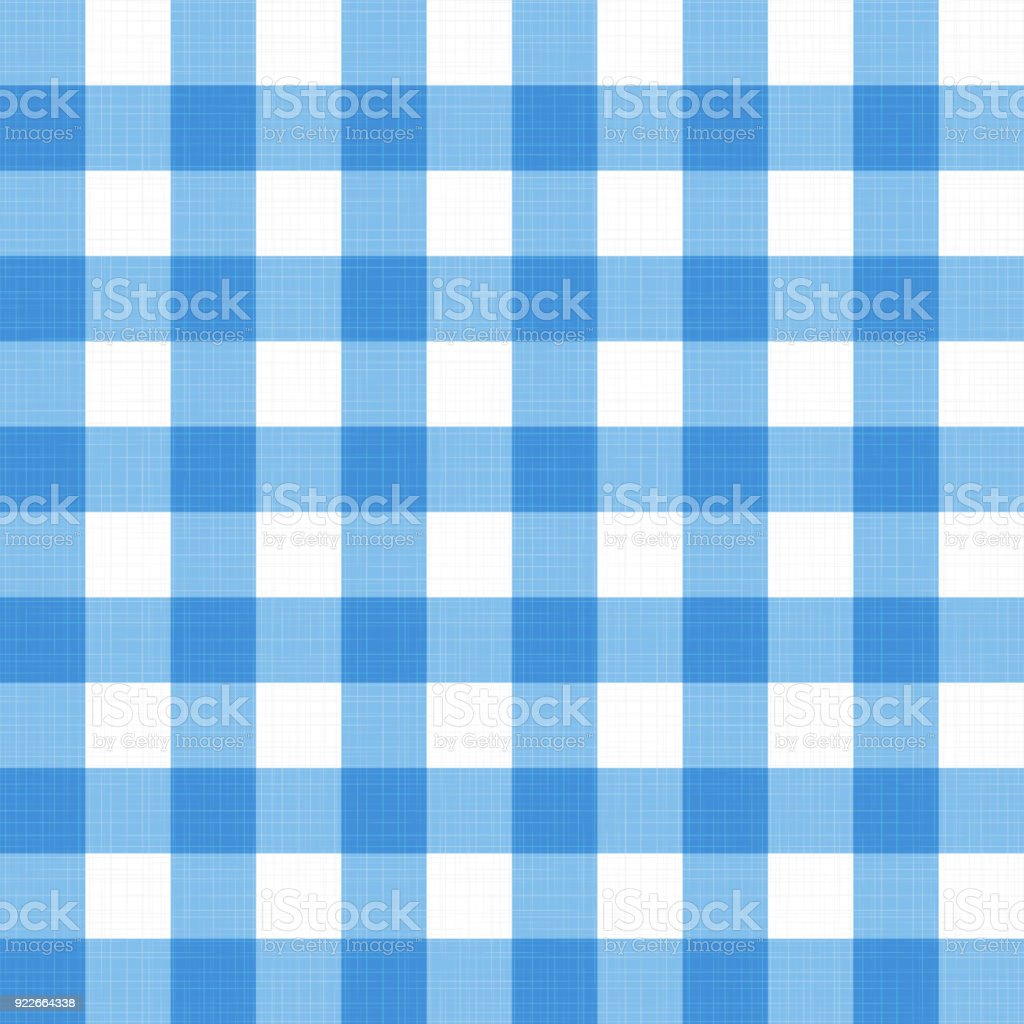 blue blanket texture. Vector Linen Gingham Checkered Blanket Tablecloth. Seamless White Blue Cloth Table Pattern Background With Natural Texture
