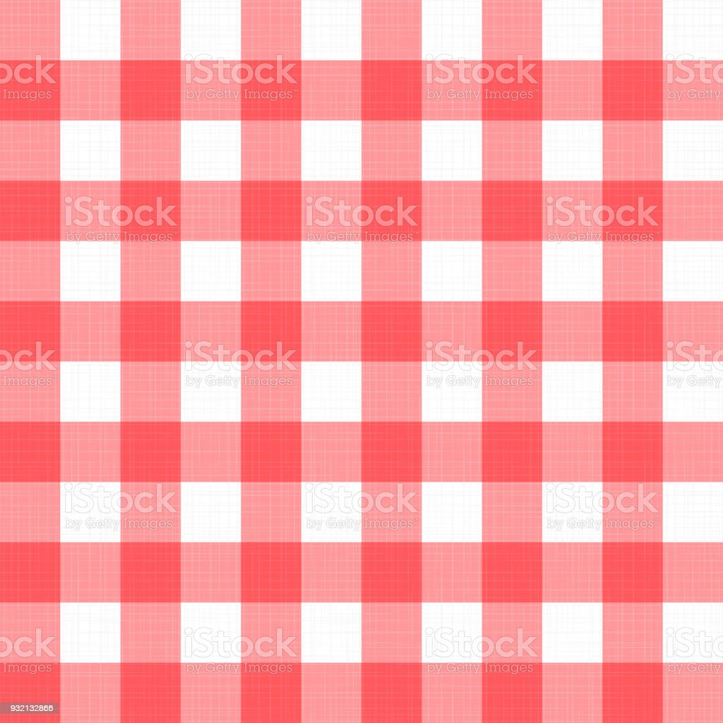 Vector Linen Gingham Checkered Blanket Tablecloth. Seamless White Red Cloth  Table Pattern Background With Natural