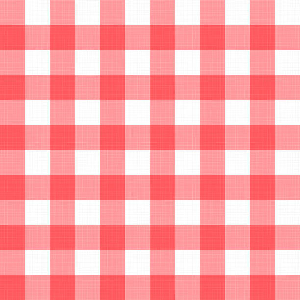 Vector linen gingham checkered blanket tablecloth. Seamless white red cloth table pattern background with natural textile texture. Retro country fabric material for holiday breakfast or dinner picnic vector art illustration