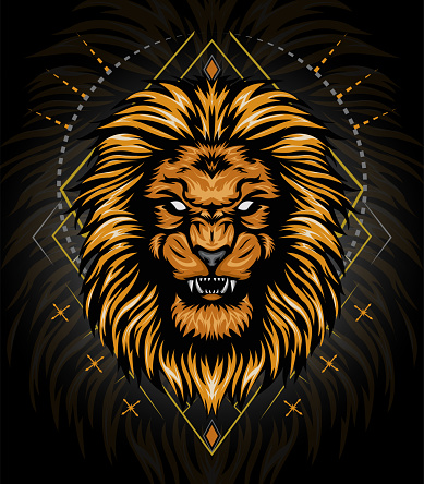 vector lion head gold with ornament background. king of lion illustration for shirt design