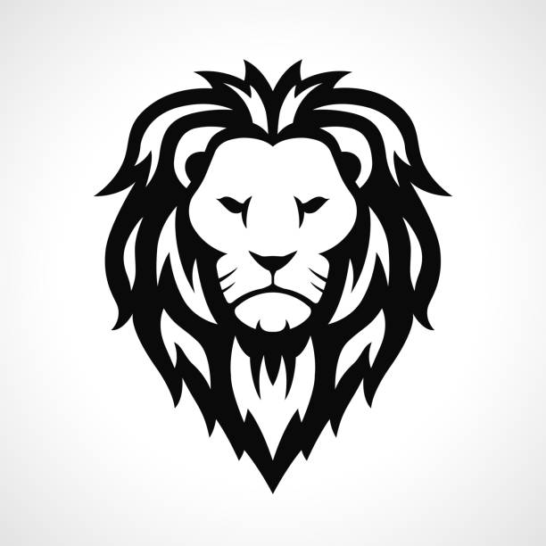 vector lion head icon design - lion stock illustrations, clip art, cartoons, & icons