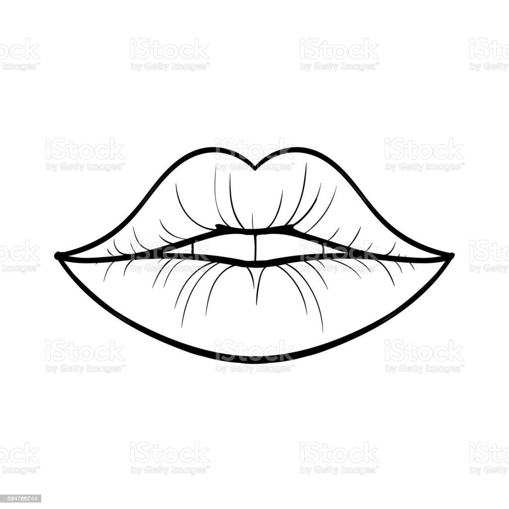 Line Art Lips : Vector lips stock art more images of