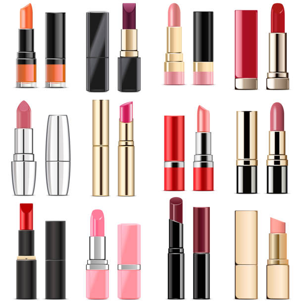Vector Lipstick Icons Vector Lipstick Icons  isolated on white background lipstick stock illustrations