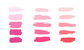 Vector Collection of strokes of lipsticks various colors isolated on white. Makeup sample, use for advertising flyer, banner, brochure, booklet and leaflets for the promotion of decorative cosmetics