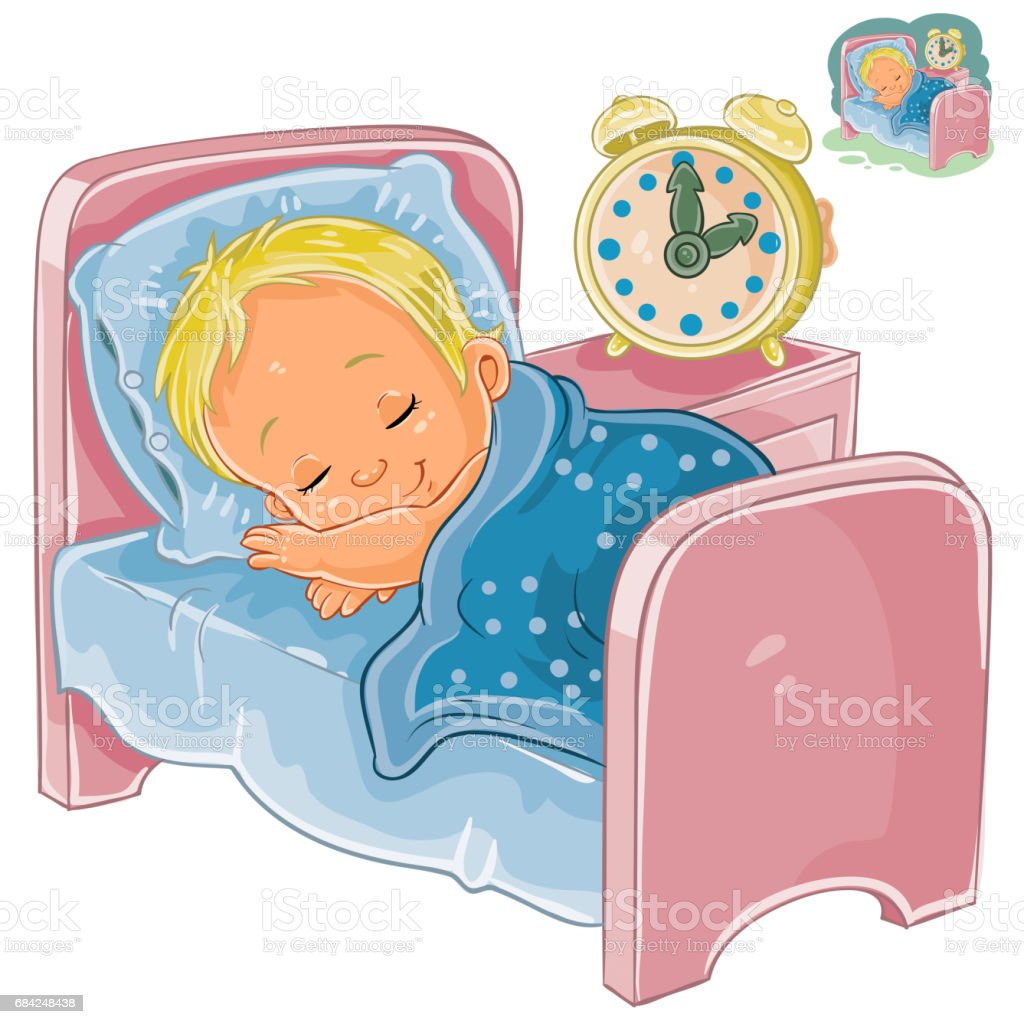 Vector little baby sleeping in his bed royalty-free vector little baby sleeping in his bed stock vector art & more images of art