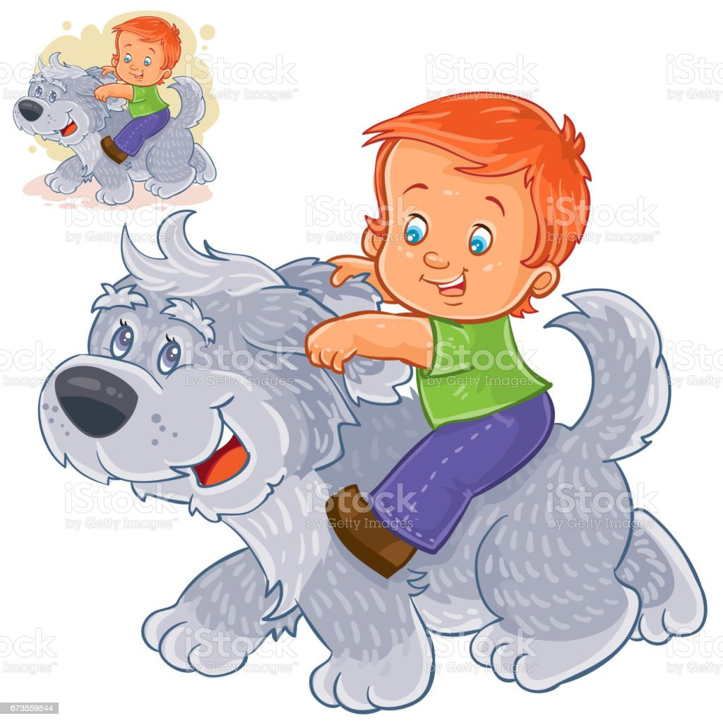Vector little boy sitting on a big dog and holding on to his ears. royalty-free vector little boy sitting on a big dog and holding on to his ears stock vector art & more images of animal