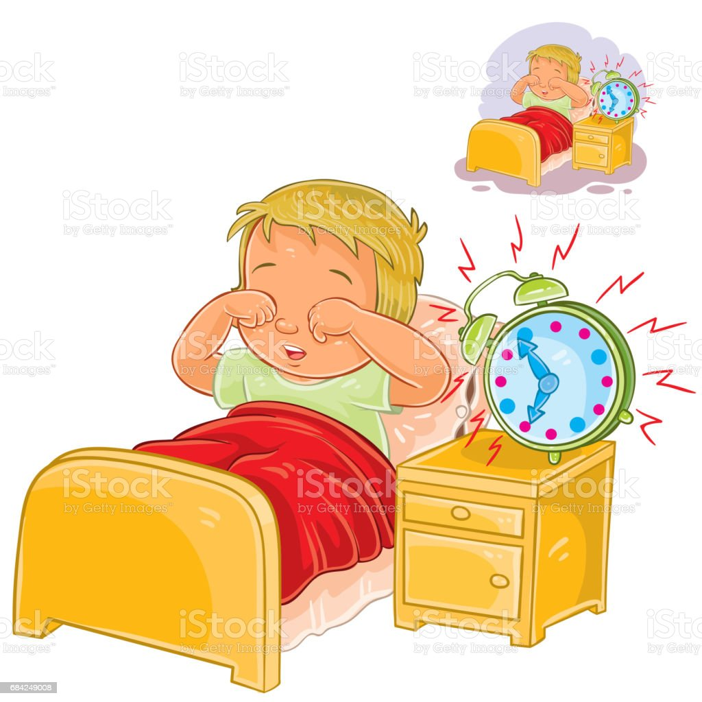 Vector little child woke up in the morning royalty-free vector little child woke up in the morning stock vector art & more images of alarm