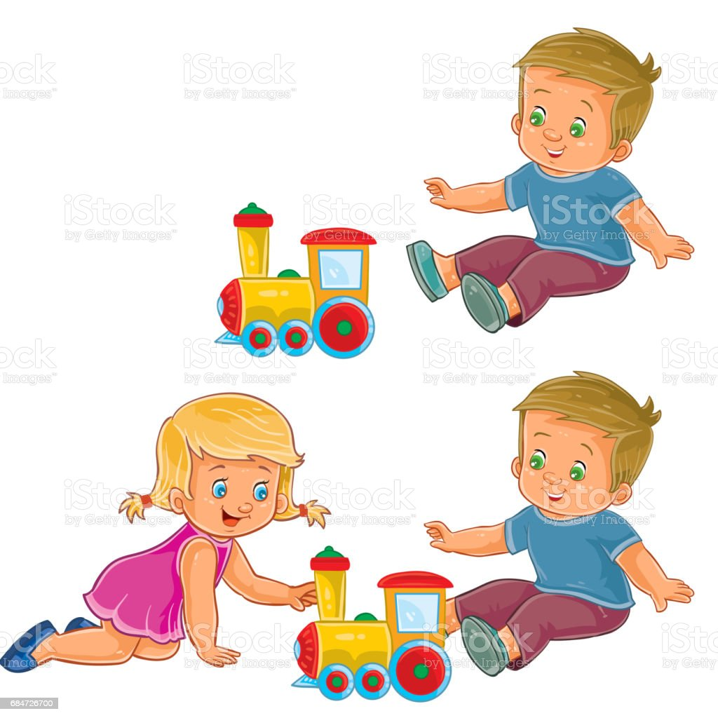 Vector little girl and boy playing with a steam locomotive vector art illustration