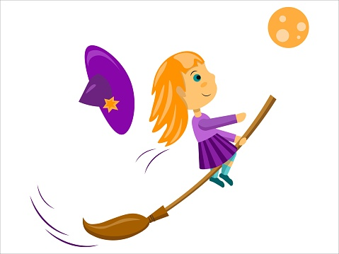 Vector little witch flying in a moon night on the broom
