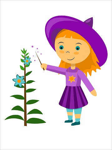Vector little witch growing plant with magic wand