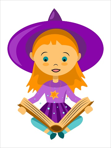Vector little witch reading a magic book
