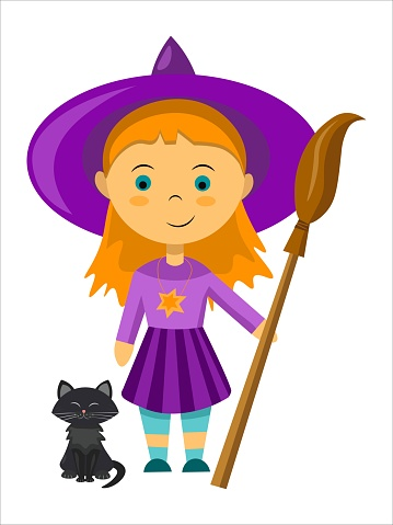Vector little witch with her broom