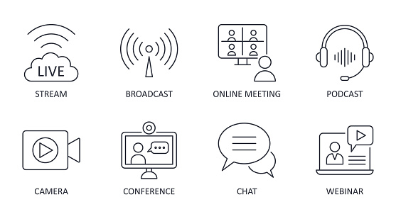 Vector live streaming icons. Set is editable stroke. Stream broadcast online meeting zoom. Podcast headphones camera internet conference chat recording a webinar