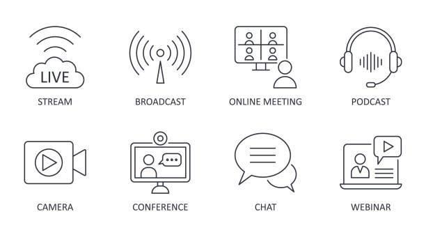 illustrazioni stock, clip art, cartoni animati e icone di tendenza di icone di streaming live vettoriale. set è un tratto modificabile. streaming trasmesso zoom riunione online. podcast cuffie fotocamera chat conferenza internet registrazione di un webinar - video call