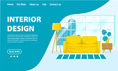 Vector living room interior design concept. Room with a sofa, bedside table, floor lamp, flower and large window. Flat style stock illustration. Template for web site, app design in blue colors.