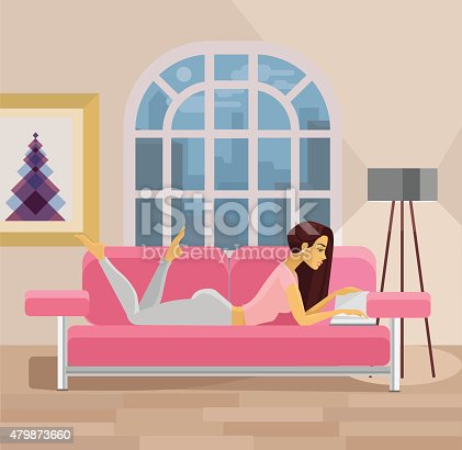 Vector Living Room With Girl Flat Illustration Stock Vector Art ...
