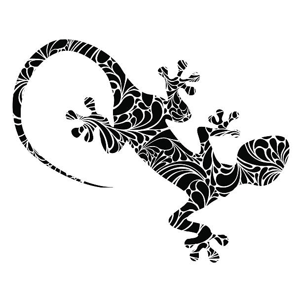 vector lizard icon isolated on white - gecko stock illustrations, clip art, cartoons, & icons