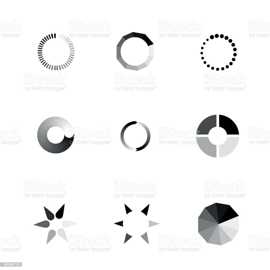 Vector Loading Icons set. vector art illustration