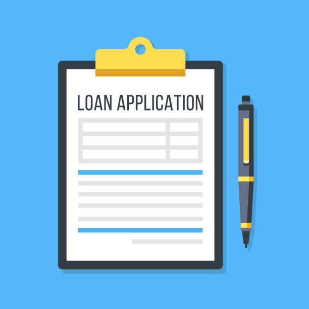 ilustrações, clipart, desenhos animados e ícones de formulário de pedido de empréstimo vector. prancheta e caneta - empréstimo