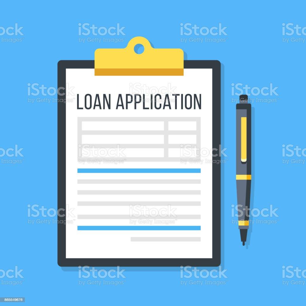 Formulario de solicitud de préstamo de vector. Portapapeles y pluma - ilustración de arte vectorial