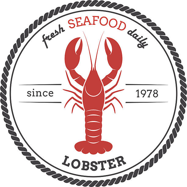Vector lobster silhouette. Lobster label. vector art illustration